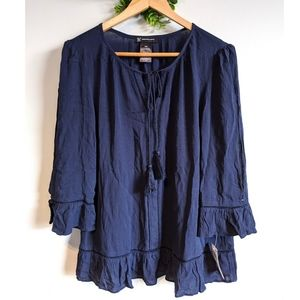 NWT INC Navy Blue Blouse Peplum Style with Tessel